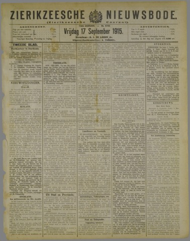 Zierikzeesche Nieuwsbode 1915-09-17