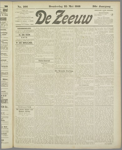 De Zeeuw. Christelijk-historisch nieuwsblad voor Zeeland 1916-05-25