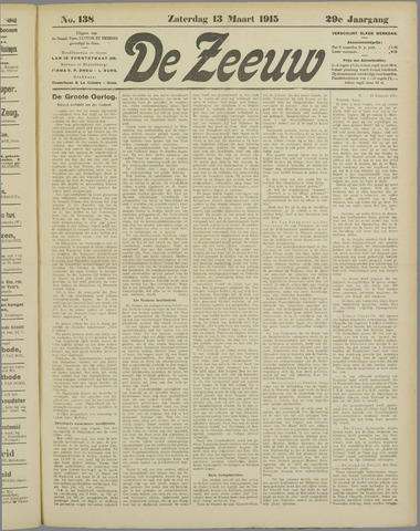 De Zeeuw. Christelijk-historisch nieuwsblad voor Zeeland 1915-03-13