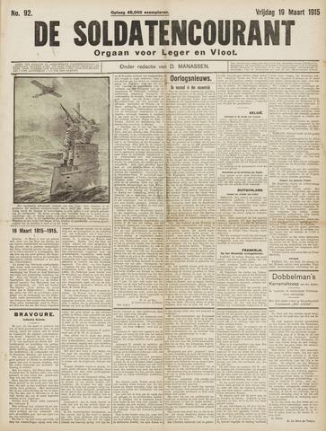 De Soldatencourant. Orgaan voor Leger en Vloot 1915-03-19