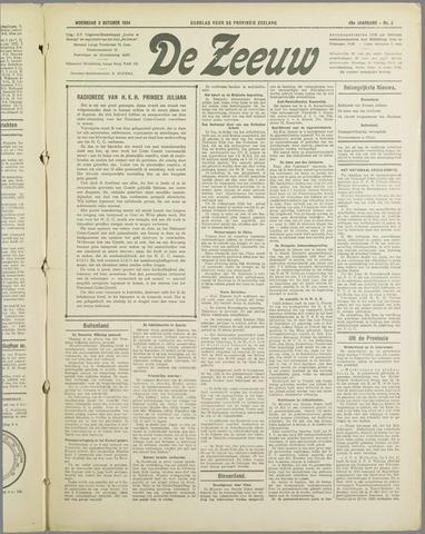 De Zeeuw. Christelijk-historisch nieuwsblad voor Zeeland 1934-10-03