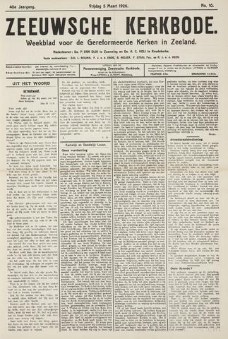 Zeeuwsche kerkbode, weekblad gewijd aan de belangen der gereformeerde kerken/ Zeeuwsch kerkblad 1926-03-05