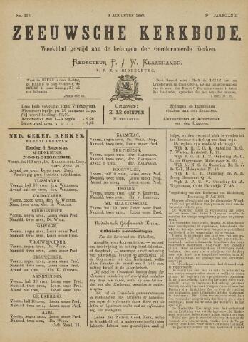 Zeeuwsche kerkbode, weekblad gewijd aan de belangen der gereformeerde kerken/ Zeeuwsch kerkblad 1889-08-03