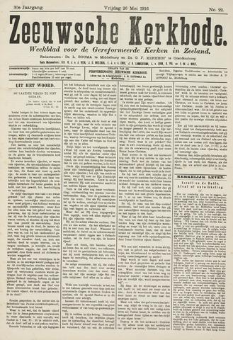 Zeeuwsche kerkbode, weekblad gewijd aan de belangen der gereformeerde kerken/ Zeeuwsch kerkblad 1916-05-26