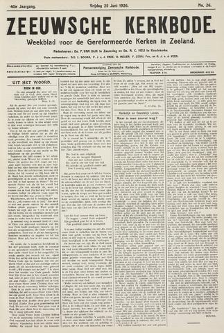 Zeeuwsche kerkbode, weekblad gewijd aan de belangen der gereformeerde kerken/ Zeeuwsch kerkblad 1926-06-25