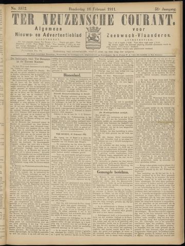 Ter Neuzensche Courant. Algemeen Nieuws- en Advertentieblad voor Zeeuwsch-Vlaanderen / Neuzensche Courant ... (idem) / (Algemeen) nieuws en advertentieblad voor Zeeuwsch-Vlaanderen 1911-02-16