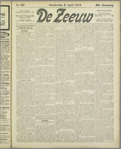 De Zeeuw. Christelijk-historisch nieuwsblad voor Zeeland 1924-04-03