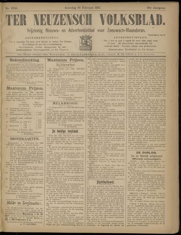 Ter Neuzensch Volksblad. Vrijzinnig nieuws- en advertentieblad voor Zeeuwsch- Vlaanderen / Zeeuwsch Nieuwsblad. Nieuws- en advertentieblad voor Zeeland 1917-02-10