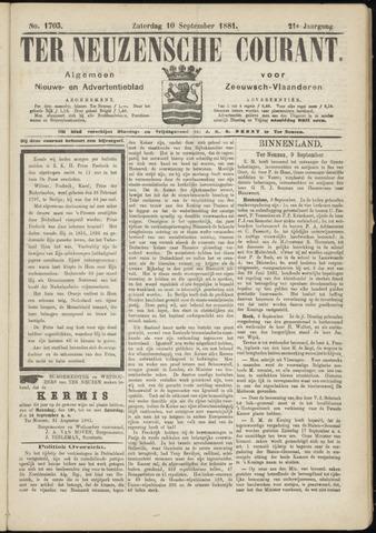 Ter Neuzensche Courant. Algemeen Nieuws- en Advertentieblad voor Zeeuwsch-Vlaanderen / Neuzensche Courant ... (idem) / (Algemeen) nieuws en advertentieblad voor Zeeuwsch-Vlaanderen 1881-09-10
