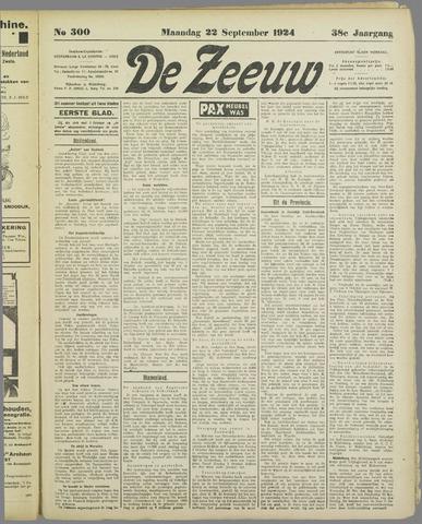De Zeeuw. Christelijk-historisch nieuwsblad voor Zeeland 1924-09-22