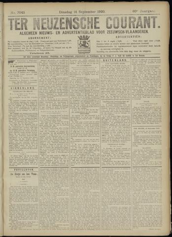 Ter Neuzensche Courant. Algemeen Nieuws- en Advertentieblad voor Zeeuwsch-Vlaanderen / Neuzensche Courant ... (idem) / (Algemeen) nieuws en advertentieblad voor Zeeuwsch-Vlaanderen 1920-09-14