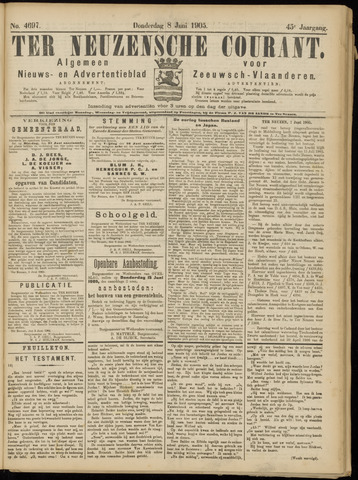 Ter Neuzensche Courant. Algemeen Nieuws- en Advertentieblad voor Zeeuwsch-Vlaanderen / Neuzensche Courant ... (idem) / (Algemeen) nieuws en advertentieblad voor Zeeuwsch-Vlaanderen 1905-06-08