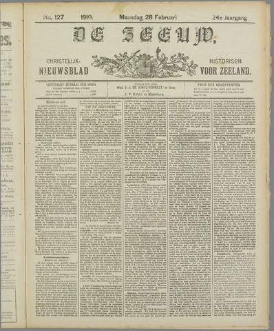 De Zeeuw. Christelijk-historisch nieuwsblad voor Zeeland 1910-02-28