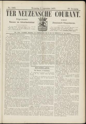Ter Neuzensche Courant. Algemeen Nieuws- en Advertentieblad voor Zeeuwsch-Vlaanderen / Neuzensche Courant ... (idem) / (Algemeen) nieuws en advertentieblad voor Zeeuwsch-Vlaanderen 1877-09-05