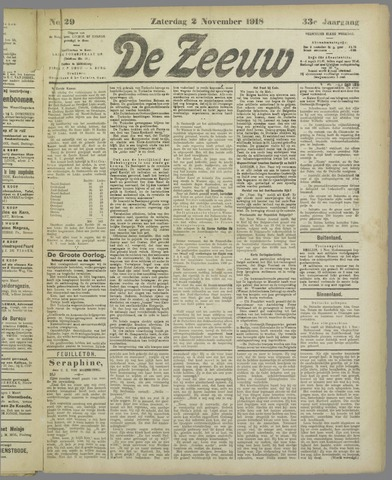De Zeeuw. Christelijk-historisch nieuwsblad voor Zeeland 1918-11-02