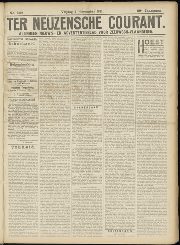 Ter Neuzensche Courant. Algemeen Nieuws- en Advertentieblad voor Zeeuwsch-Vlaanderen / Neuzensche Courant ... (idem) / (Algemeen) nieuws en advertentieblad voor Zeeuwsch-Vlaanderen 1921-11-04