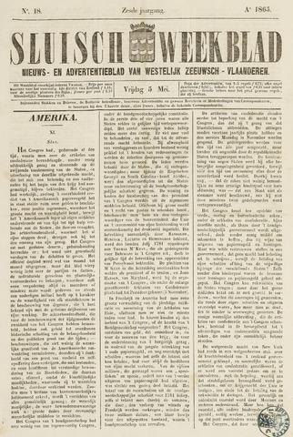 Sluisch Weekblad. Nieuws- en advertentieblad voor Westelijk Zeeuwsch-Vlaanderen 1865-05-05