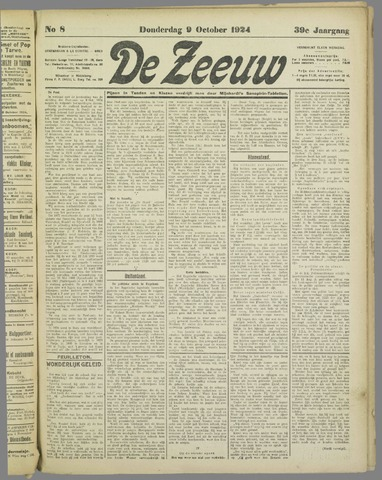 De Zeeuw. Christelijk-historisch nieuwsblad voor Zeeland 1924-10-09
