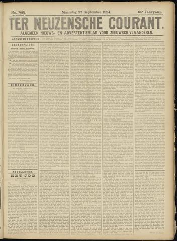 Ter Neuzensche Courant. Algemeen Nieuws- en Advertentieblad voor Zeeuwsch-Vlaanderen / Neuzensche Courant ... (idem) / (Algemeen) nieuws en advertentieblad voor Zeeuwsch-Vlaanderen 1924-09-22