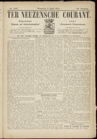 Ter Neuzensche Courant. Algemeen Nieuws- en Advertentieblad voor Zeeuwsch-Vlaanderen / Neuzensche Courant ... (idem) / (Algemeen) nieuws en advertentieblad voor Zeeuwsch-Vlaanderen 1879-04-02