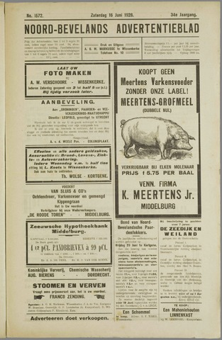 Noord-Bevelands Nieuws- en advertentieblad 1928-06-16