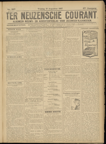 Ter Neuzensche Courant. Algemeen Nieuws- en Advertentieblad voor Zeeuwsch-Vlaanderen / Neuzensche Courant ... (idem) / (Algemeen) nieuws en advertentieblad voor Zeeuwsch-Vlaanderen 1927-08-19