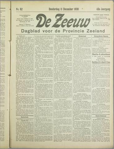 De Zeeuw. Christelijk-historisch nieuwsblad voor Zeeland 1930-12-11