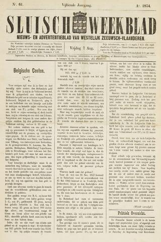 Sluisch Weekblad. Nieuws- en advertentieblad voor Westelijk Zeeuwsch-Vlaanderen 1874-08-07