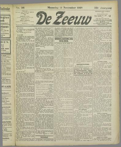 De Zeeuw. Christelijk-historisch nieuwsblad voor Zeeland 1918-11-11