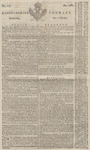 Middelburgsche Courant 1761-10-01
