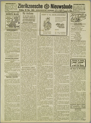 Zierikzeesche Nieuwsbode 1924-11-28
