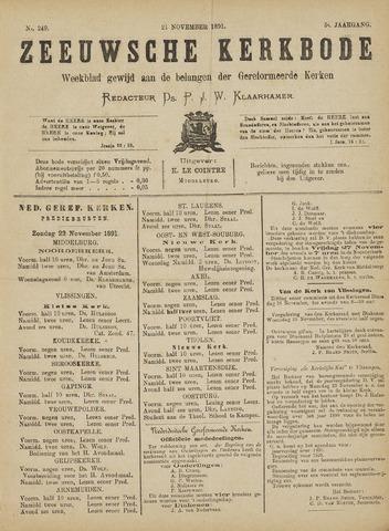 Zeeuwsche kerkbode, weekblad gewijd aan de belangen der gereformeerde kerken/ Zeeuwsch kerkblad 1891-11-21