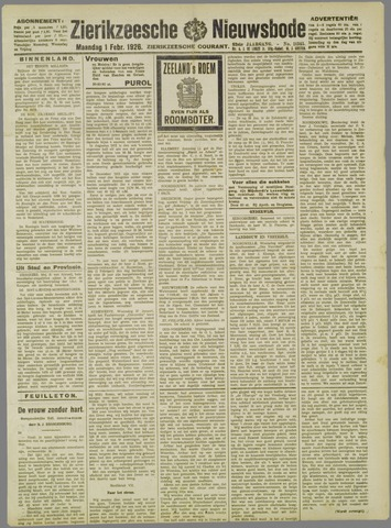 Zierikzeesche Nieuwsbode 1926-02-01