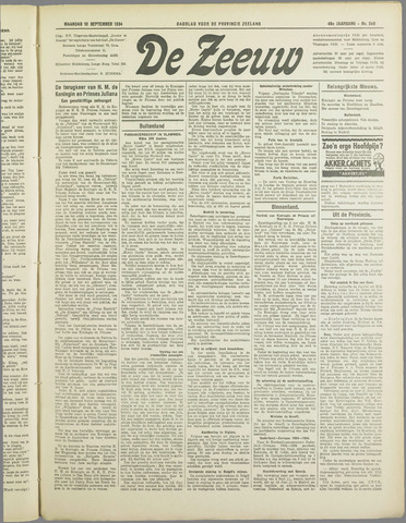 De Zeeuw. Christelijk-historisch nieuwsblad voor Zeeland 1934-09-10