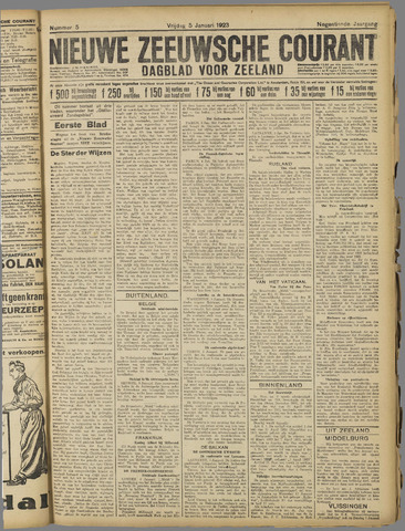Nieuwe Zeeuwsche Courant 1923-01-05