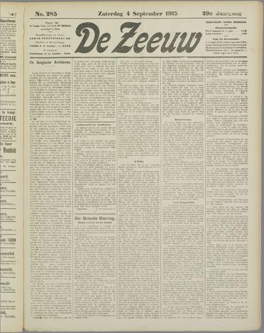 De Zeeuw. Christelijk-historisch nieuwsblad voor Zeeland 1915-09-04