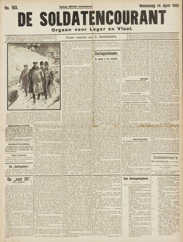 De Soldatencourant. Orgaan voor Leger en Vloot 1915-04-14