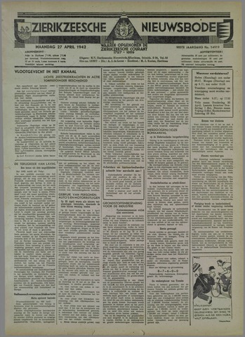 Zierikzeesche Nieuwsbode 1942-04-27
