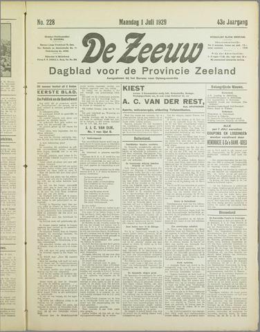 De Zeeuw. Christelijk-historisch nieuwsblad voor Zeeland 1929-07-01