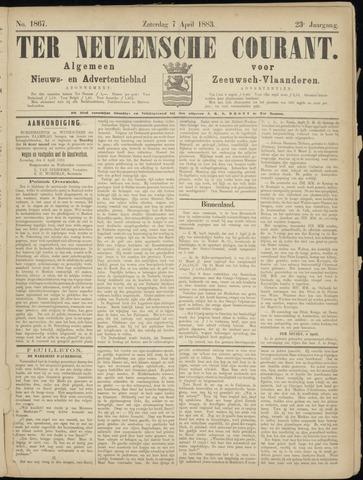 Ter Neuzensche Courant. Algemeen Nieuws- en Advertentieblad voor Zeeuwsch-Vlaanderen / Neuzensche Courant ... (idem) / (Algemeen) nieuws en advertentieblad voor Zeeuwsch-Vlaanderen 1883-04-07