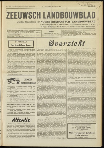 Zeeuwsch landbouwblad ... ZLM land- en tuinbouwblad 1951-04-07