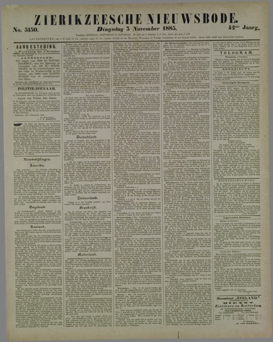 Zierikzeesche Nieuwsbode 1885-11-03