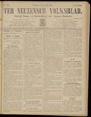 Ter Neuzensch Volksblad. Vrijzinnig nieuws- en advertentieblad voor Zeeuwsch- Vlaanderen / Zeeuwsch Nieuwsblad. Nieuws- en advertentieblad voor Zeeland 1915-11-10