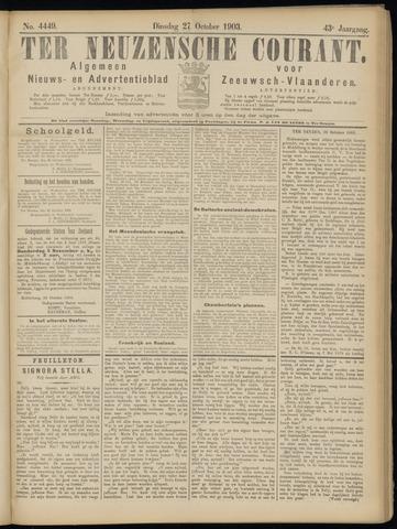 Ter Neuzensche Courant. Algemeen Nieuws- en Advertentieblad voor Zeeuwsch-Vlaanderen / Neuzensche Courant ... (idem) / (Algemeen) nieuws en advertentieblad voor Zeeuwsch-Vlaanderen 1903-10-27