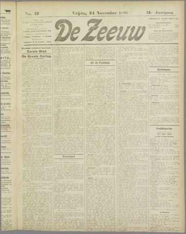 De Zeeuw. Christelijk-historisch nieuwsblad voor Zeeland 1916-11-24