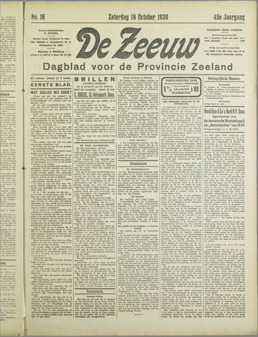 De Zeeuw. Christelijk-historisch nieuwsblad voor Zeeland 1930-10-18