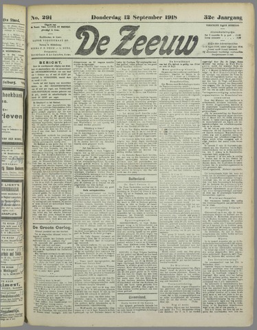 De Zeeuw. Christelijk-historisch nieuwsblad voor Zeeland 1918-09-12