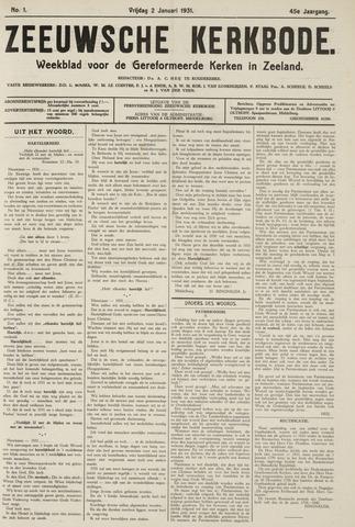 Zeeuwsche kerkbode, weekblad gewijd aan de belangen der gereformeerde kerken/ Zeeuwsch kerkblad 1931