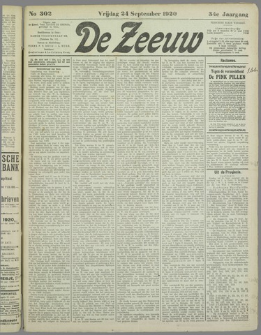 De Zeeuw. Christelijk-historisch nieuwsblad voor Zeeland 1920-09-24