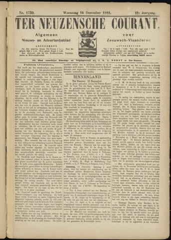 Ter Neuzensche Courant. Algemeen Nieuws- en Advertentieblad voor Zeeuwsch-Vlaanderen / Neuzensche Courant ... (idem) / (Algemeen) nieuws en advertentieblad voor Zeeuwsch-Vlaanderen 1881-12-14